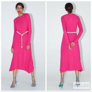 NWT • Zara • Long Belted Dress